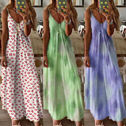 Plus Size Womens Summer V Neck Maxi Long Dress Ladies Casual Loose Boho Dress $14.75