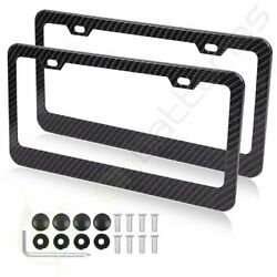 2xCarbon Fiber Style Black Wide-brimmed License Plate Frame w Screw for Lexus $14.89