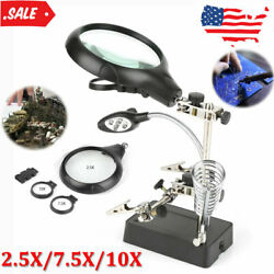 Clamp Holder Magnifier Helping Magnifying LED Glass Hand Soldering 2.5X 7.5X 10X $17.59