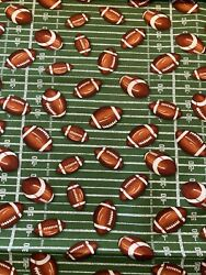 FOOTBALLS on the Field 100% Cotton Fabric by the Half Yard $5.00