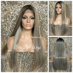 Long Lace Front Wig Ash Blonde Dark Roots Straight Baby Hair Heat Safe Glueless $56.86