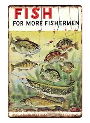 Fishing 1955 Michigan DNR Collectible Fisheries Fish for more Fishermen tin sign $16.93