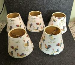 SET OF 5 CHICKEN ROOSTER CLIP ON LAMP SHADES. CLEAN! EUC! $19.99