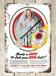 wall designs living 1949 Smoke a Lucky To Feel Your Level Best metal tin sign $16.88