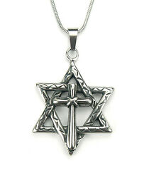 Messianic Cross in Star of David Necklace Jewish Christian Gift Stainless Steel $14.00