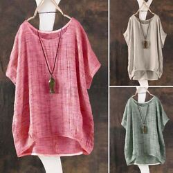 US STOCK Women Short Sleeve T-Shirt Vintage Round Neck Tee Shirt Blouse Tops NEW $11.69