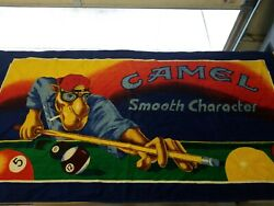 Vintage 90s Joe Camel Ciggerettes 1991 Beach Towel Billiards Smooth Character