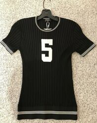 Chanel 19P Sold Out Black Number 5 CC Logo Knit T-Shirt Top MSRP $1850 Sz Fr42
