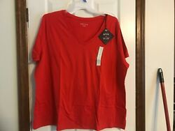 Ava amp; Viv 3X Plus or 2X Red V neck Short Sleeve T shirt Top New $6.35