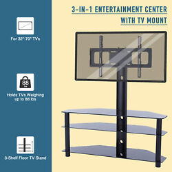 3 Shelf Floor Glass TV Stand for 32quot; 70quot; Flat Screen Monitor Rotate 45° $106.89