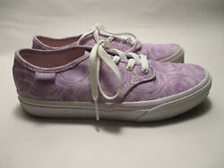 VANS Off the Wall Girls Youth 4.0M Lavender Swirl Lace Up Canvas Sneakers $15.98