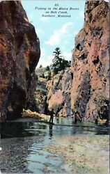 Fishing in the Sluice Boxes on Belt Creek Northern Montana 1910 Postcard $14.48