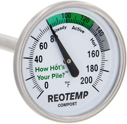 REOTEMP Backyard Compost Thermometer 20quot; Stem with PDF Composting Guide 0 20 $25.53