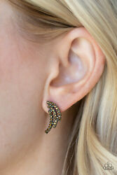 Wing Bling Brass Post Back Paparazzi Earring $5.00