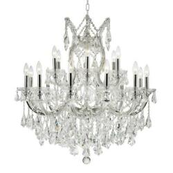 W83005C30 MARIA THERESA 19 LIGHT Silver FINISH CLEAR CRYSTAL CHANDELIER $713.00