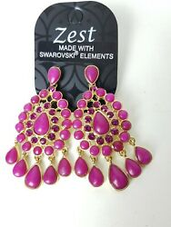 Bollywood Indian Earrings Pink Chandelier Swarovski Crystal Asian Pakistani GBP 5.00