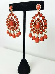 Bollywood Indian Earrings Coral Red Chandelier Swarovski Crystal GBP 5.00