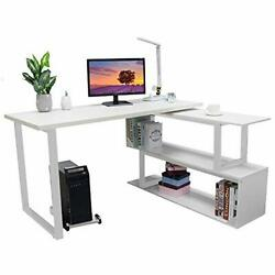 Bizzoelife L-Shaped Computer Desk 55 Inch 360° Rotating Corner Desk with 2 Stor $289.53