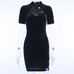 Women Gothic Dress Dark Black Velvet Lace Short Sleeve Slim Bodycon Punk Skirts
