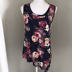 Needle Thread Knit Sleeveless Tank Floral Boutique Top Womens Size Small Button $5.99