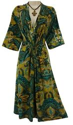 14W 1X SEXY Womens PAISLEY PRINT CINCHED DRESS Summer Wedding Party PLUS SIZE $49.99