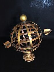 Mid Century Modern Golden Finish Globe And Arrow 14 Inches Tall $40.00