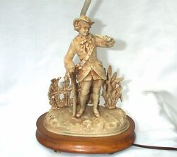 Antique Lamp Colonial Man In Garden Walking Stick Figural Shade Metal $149.00