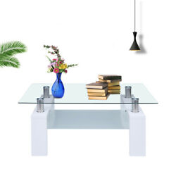 Rectangular Glass Coffee Table Modern Shelf Wood Living Furniture Room New USA $77.99