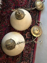 J20Y Antique Pair Milk Glass Pendants With Vintage Stamped Brass Canopies $66.00