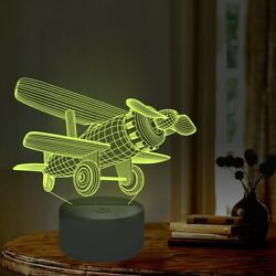Biplane 3D Airplane Lamp USB Power LED Illusion Night Light 7 Colors Change $12.99