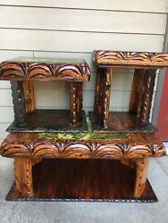 Vintage Witco Era TIKI Bar Wood Coffee Table & Side Tables Mid Century Modern $250.00