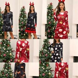 Cocktail Dresses Christmas Long Sleeve Womens Party Dress Evening Floral A Line $17.76