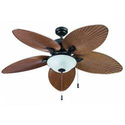52quot; Brown Palm LED Indoor Outdoor Ceiling Fan with Light Kit