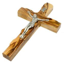 6 inch Olive Wood Cross Hanging Wall Jesus Crucifix from Jerusalem Holy Land