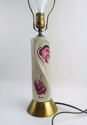 Tyndale Vintage White HAND PAINTED Ceramic Lamp with Pink leaves $80.00