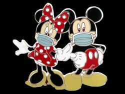 Fantasy Pin - Disney Mickey & Minnie Mouse in Face Mask at the Park $12.04
