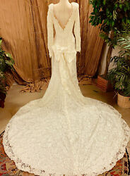 OFF WHITE IVORY ALL LACE WEDDING GOWN DRESS LONG SLEEVE TRAIN  SIZE LARGE $99.99