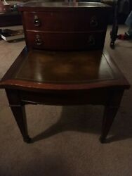 Antique Table Leather Top Side Accent End Nightstand Imperial $64.99