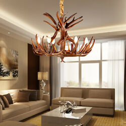 Antique Pendant LED Chandelier Resin Antlers Candle Hanging Lamp Pendant Fixture $119.00