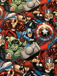 AVENGERS Hulk Thor Capt America Fabric By the Half Yard 100% Cotton $6.50