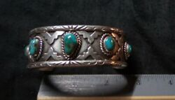Heavy Vintage Native American Navajo Turquoise Sterling Silver Cuff Bracelet 50G