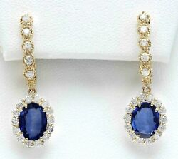 4.59 Carat Natural Sapphire 14K Solid Yellow Gold Diamond Earrings $304.00