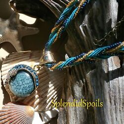21-IN NECKLACE TURQUOISE COLOR BRAIDED STRANDS W TEAL GOLDEN BRONZE  $9.00