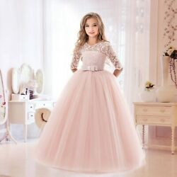 Flower Girls Princess Dress Kids Party Lace Tulle Wedding Birthday Dresses $16.99