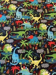 DINOSAURS Dinos on Navy Fabric By the Half Yard 100% Cotton $5.00