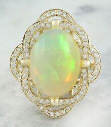 7.05 Carat Natural Opal 14K Solid Yellow Gold Luxury Diamond Ring $7.50