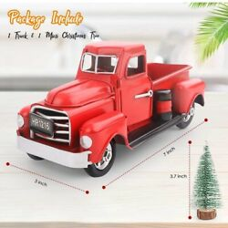 Vintage Metal Classic Pickup Red Truck w Tree Farm House Rustic Decor Christmas $14.99
