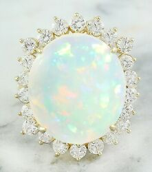 11.90 Carat Natural Opal 14K Solid Yellow Gold Luxury Diamond Ring $2.25