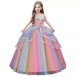 Unicorn Flower Girl Dress Princess Birthday Party Long Gown Size 5 14 $21.99