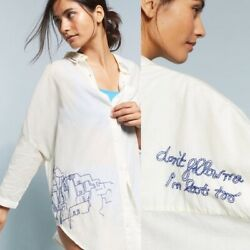 Anthropologie AlliHop Embroidered Beach Shirt Size: S $55.00